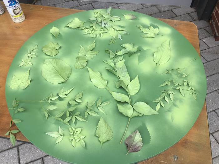 Tim's table top with painted leaf layers