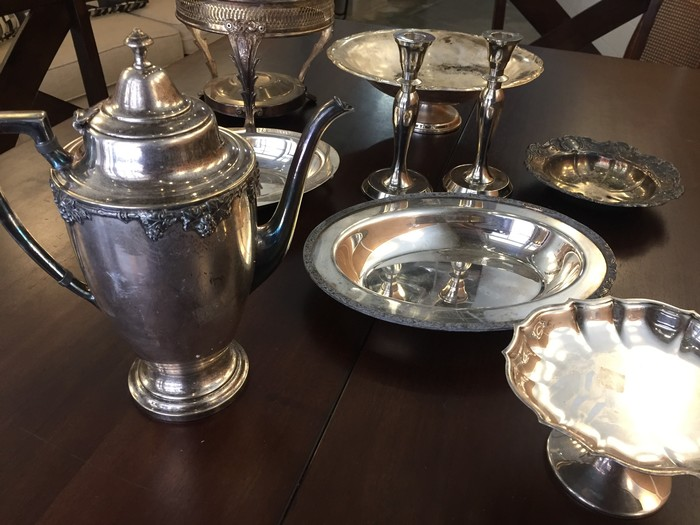 Tim's antique teapot, candlestick holders, and other tea service accessories