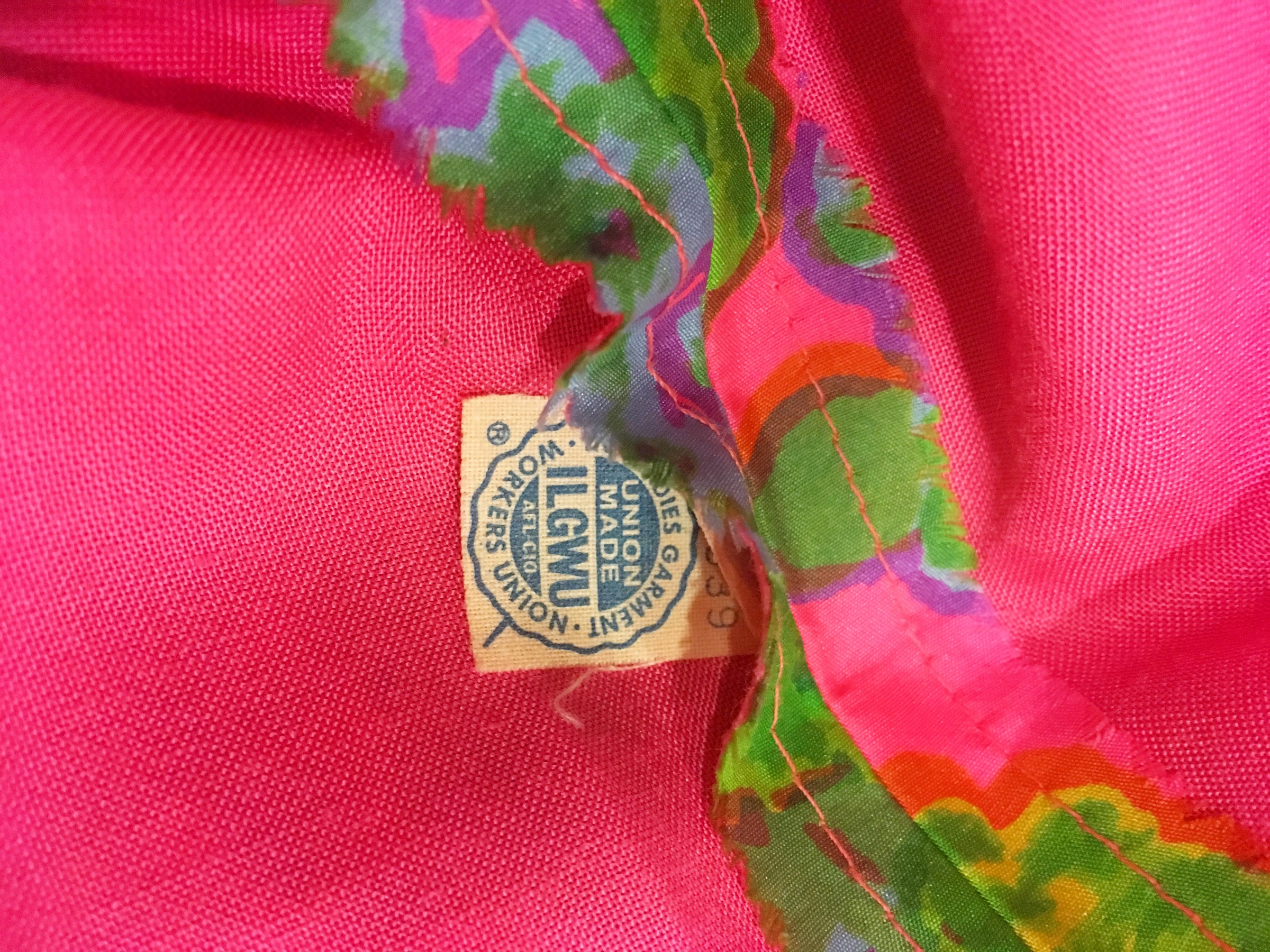 ILGWU tag on the inside of a vintage dress