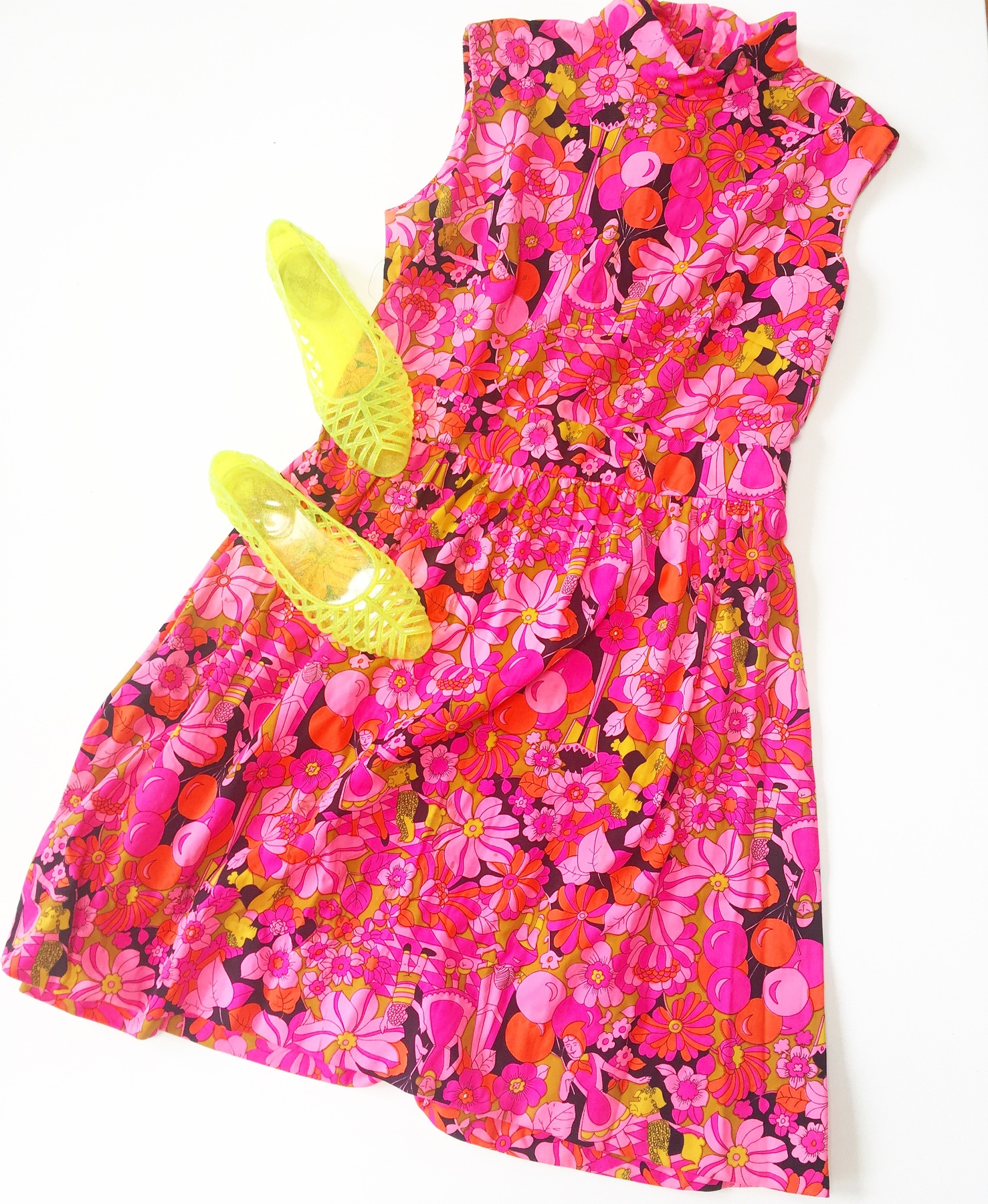 vintage dress in a psychedelic print