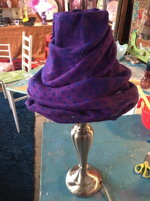 Tim's purple lamp with scarf lampshade