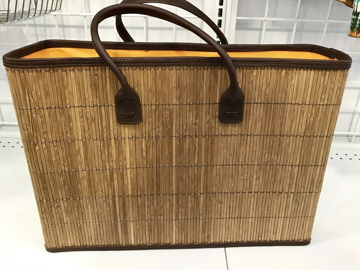 Karen's boxy bamboo tote, found at Goodwill in Bowie