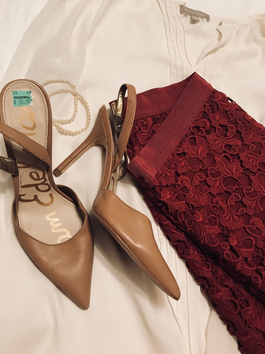 Karen's blouse, skirt, pumps, and pearls - all found at Goodwill stores