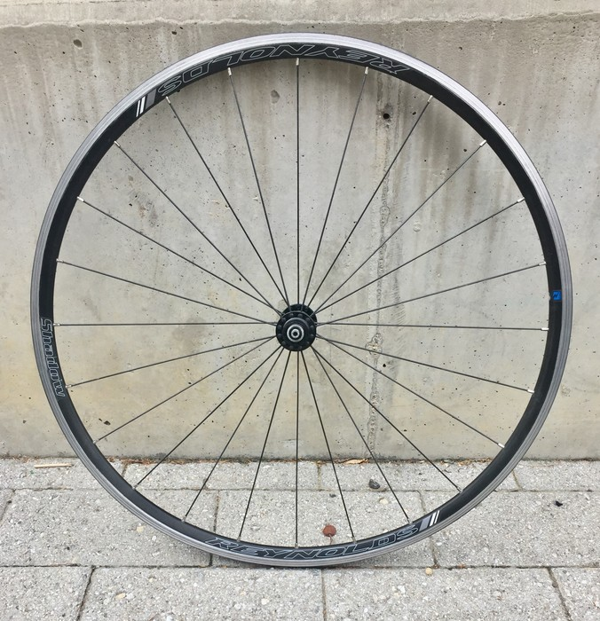 wheel removed from bicycle