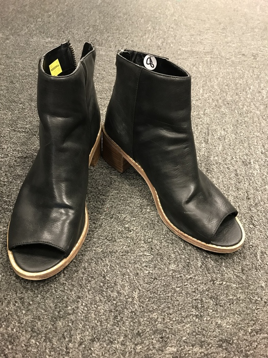 black low heel open-toed booties found at the Kings Highway Goodwill store