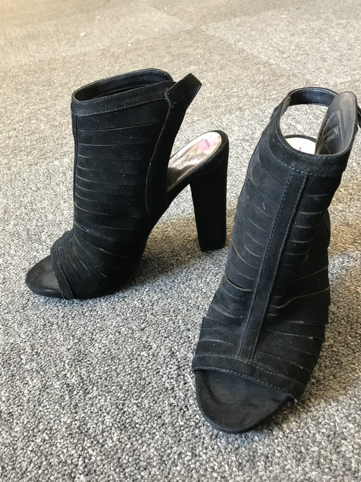 suede open-toed booties found at the Kings Highway Goodwill store