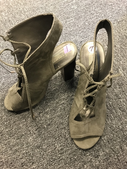 olive green open-toed booties found at the Kings Highway Goodwill store