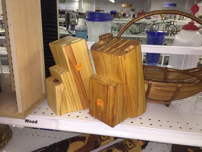 Knife blocks found in Wood section of Goodwill
