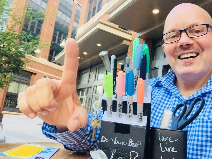 Tim poses with finished black upcycled knife block