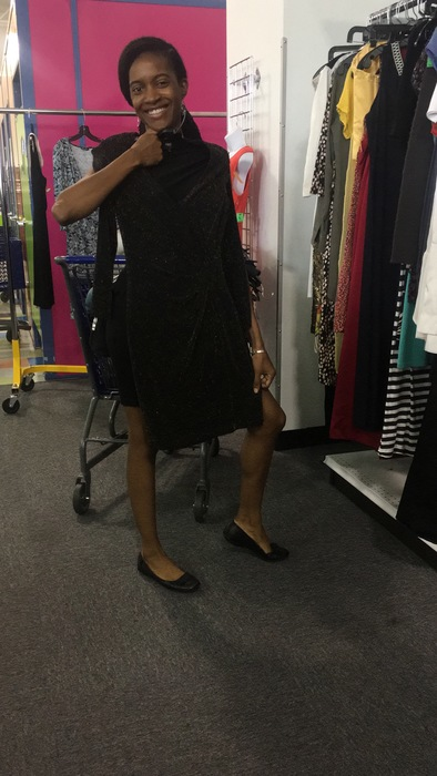 Carolyn's friend Nicole finds a black dress by Vince for $5 at the Bowie, MD Goodwill