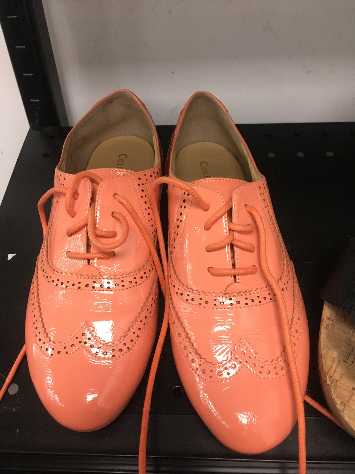 Coral colored Cole Hann oxfords found at Goodwill NYC