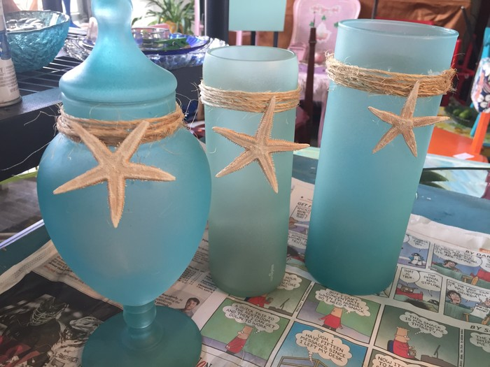 Tim's completed vases with twine and starfish.