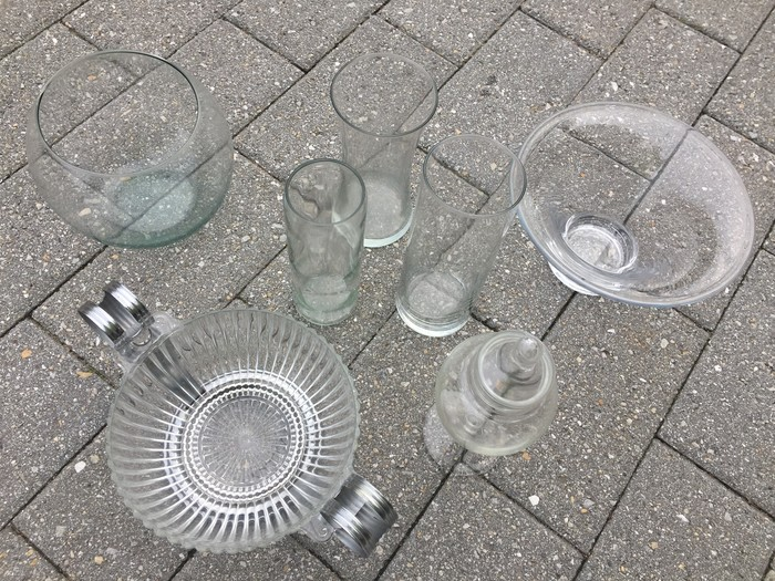 Tim's selection of glassware found at Goodwill