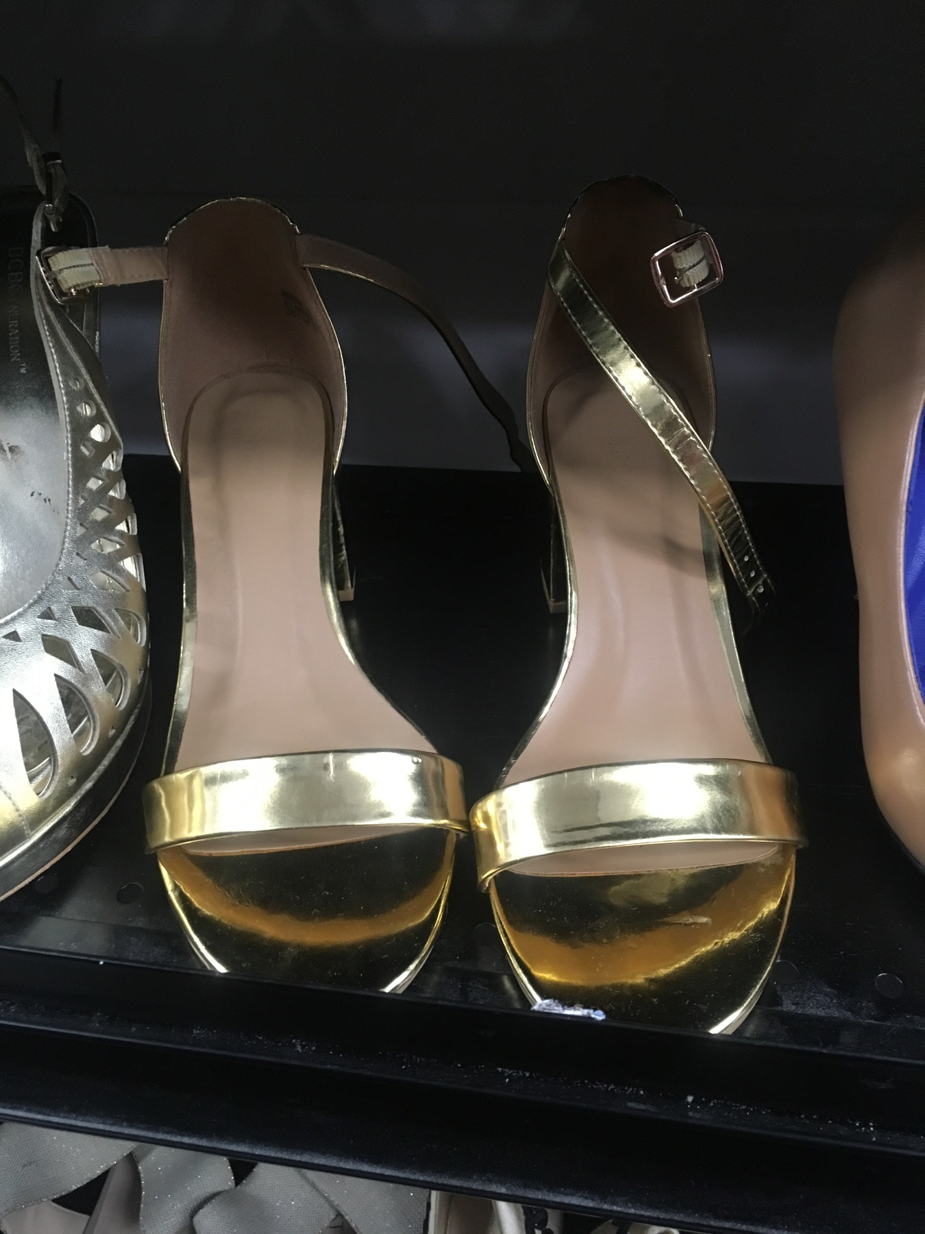 Stappy gold bamboo sandals found at Goodwill NYC