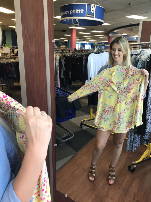 Megan models Lilly blouse found at Glebe Goodwill
