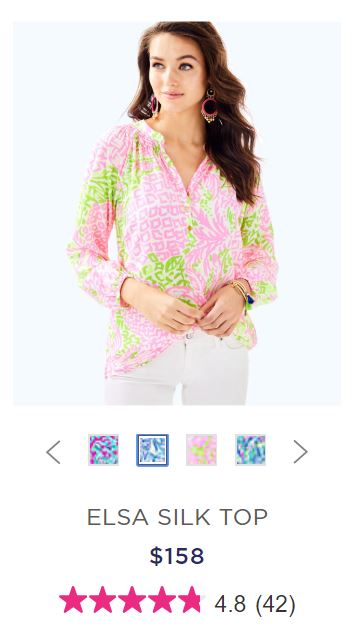 screenshot of retail Lilly P blouse for $158