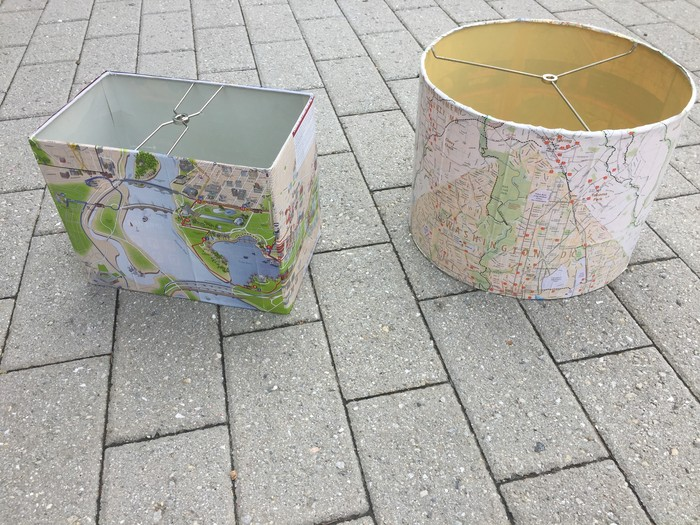 Tim's lampshades decoupaged in maps