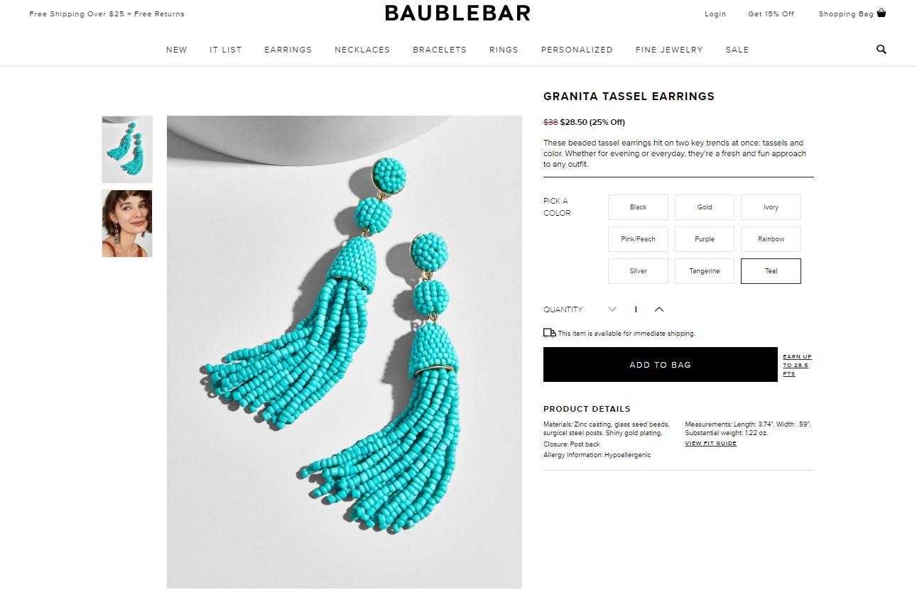 screen shot of earrings similar to Karen's found on the Bauble Bar website