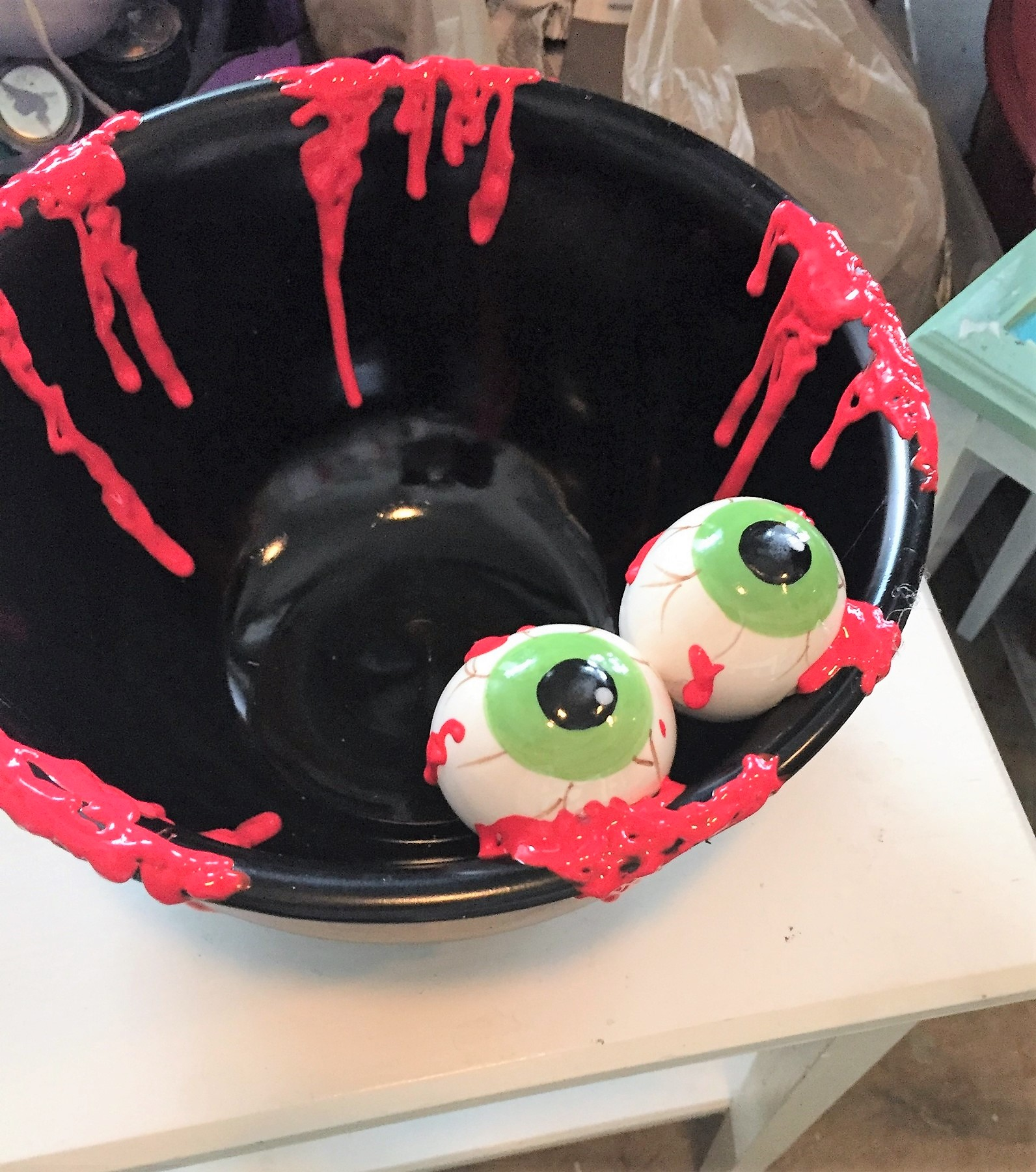 Tim's upcycled snack bowl turned spooky candy dish