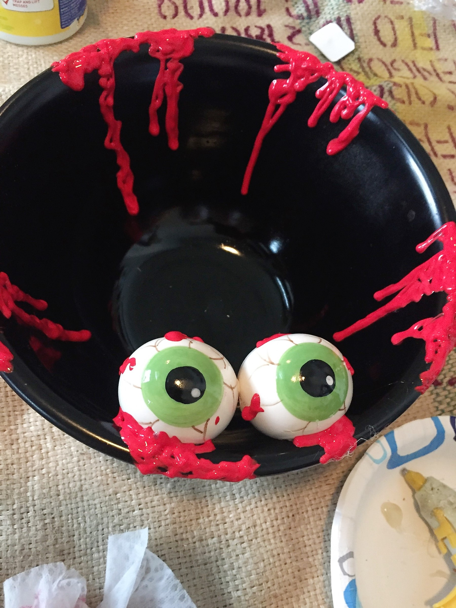 Tim's eyeball bowl after add more red paint squiggles.
