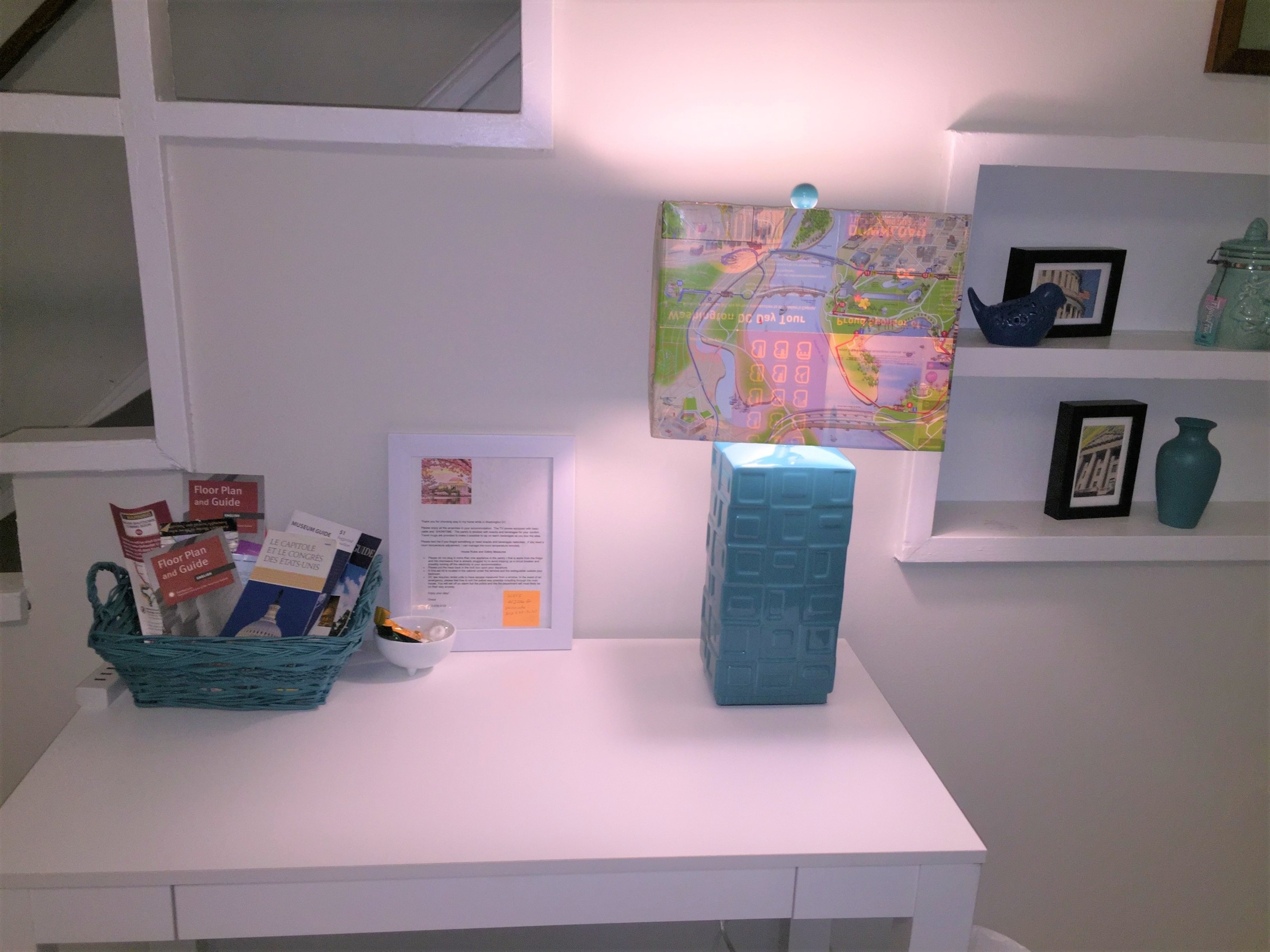 "Tim's completed ""map lamp"" displayed in a home office setting"