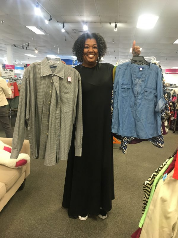 Meetup shopper flaunts shirt finds at Richmond Highway Goodwill
