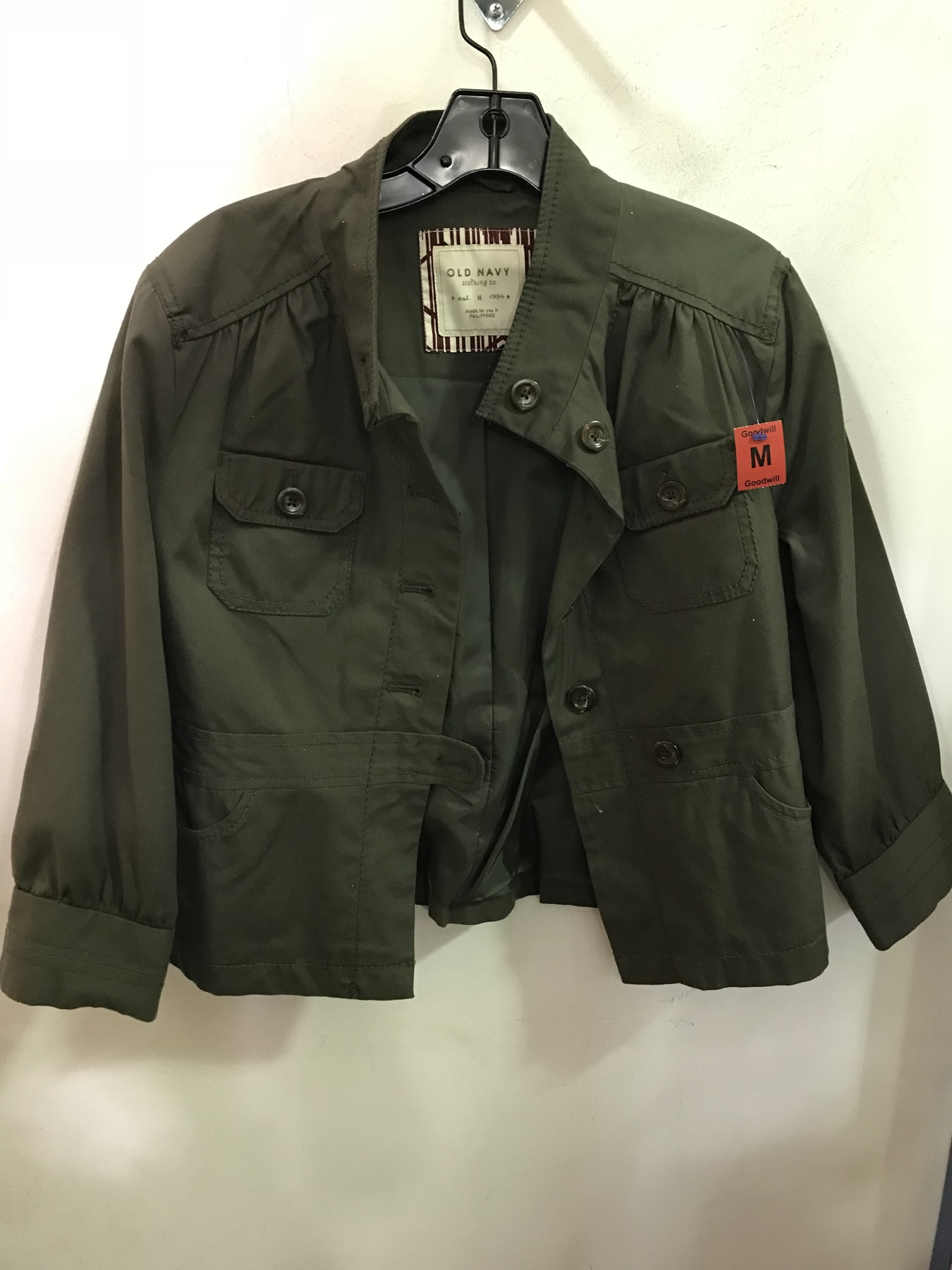 green utility jacket found by Old Navy found at Columbia Pike Goodwill