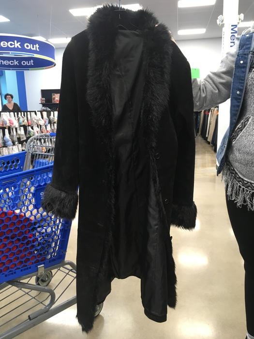 long black coat found at Liberia Avenue, Goodwill