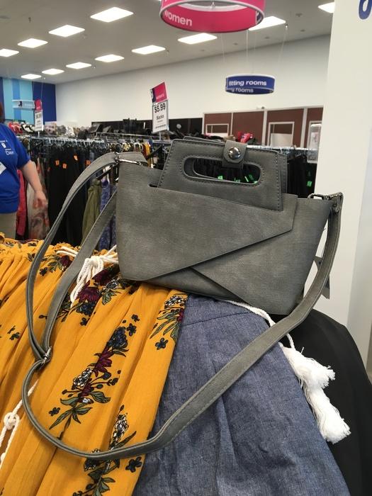 grey suede handbag found at Liberia Avenue, Goodwill