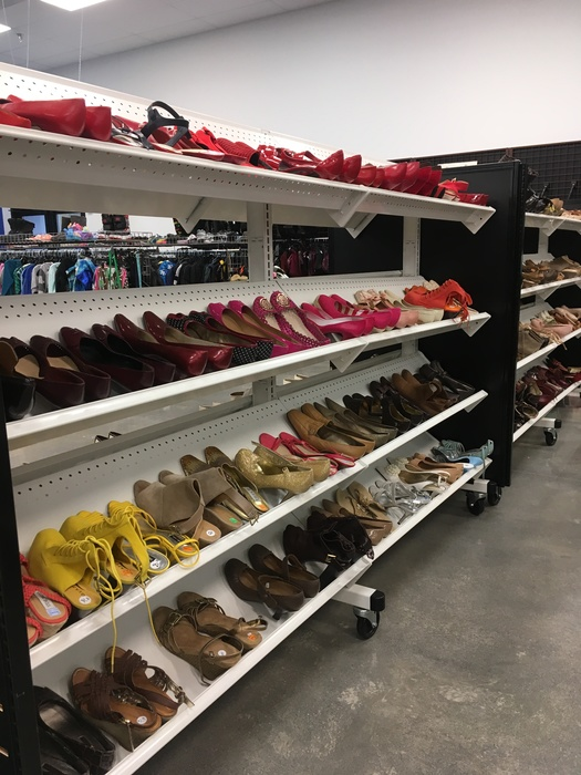 ladies shoe section at Liberia Avenue Goodwill