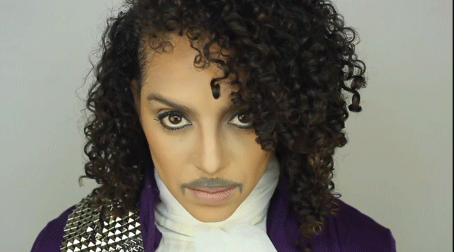 naturally curly portrays Prince for Halloween