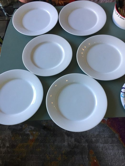 cleaned and prepped plates sourced from Goodwill