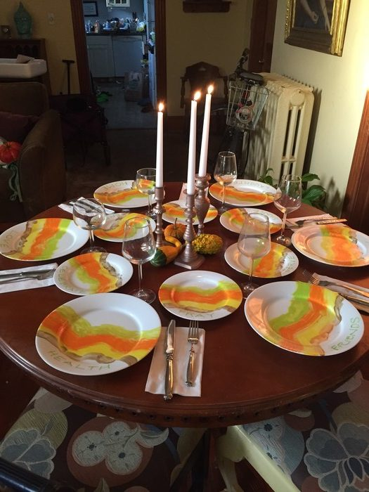 Tim's completed tablescape incorporating upcycled candlestick holders