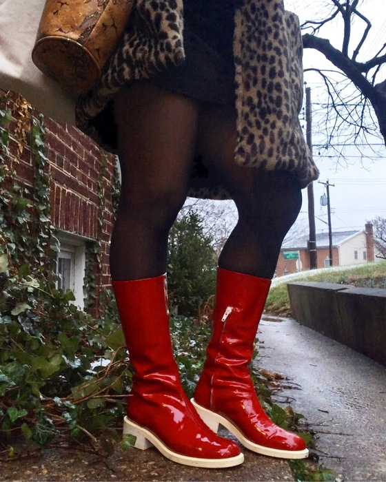 Carolyn's vintage red boots from Goodwilll