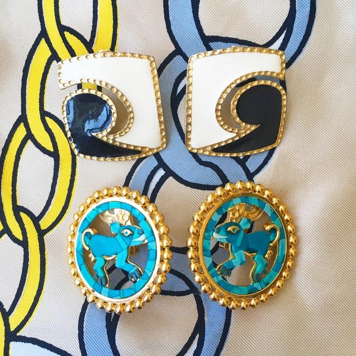 Carolyn's vintage earrings from Goodwill