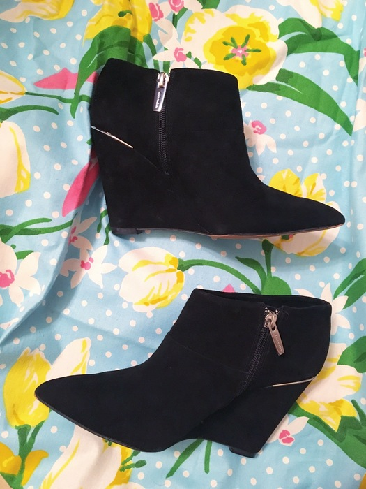 black wedge boots from Goodwilll