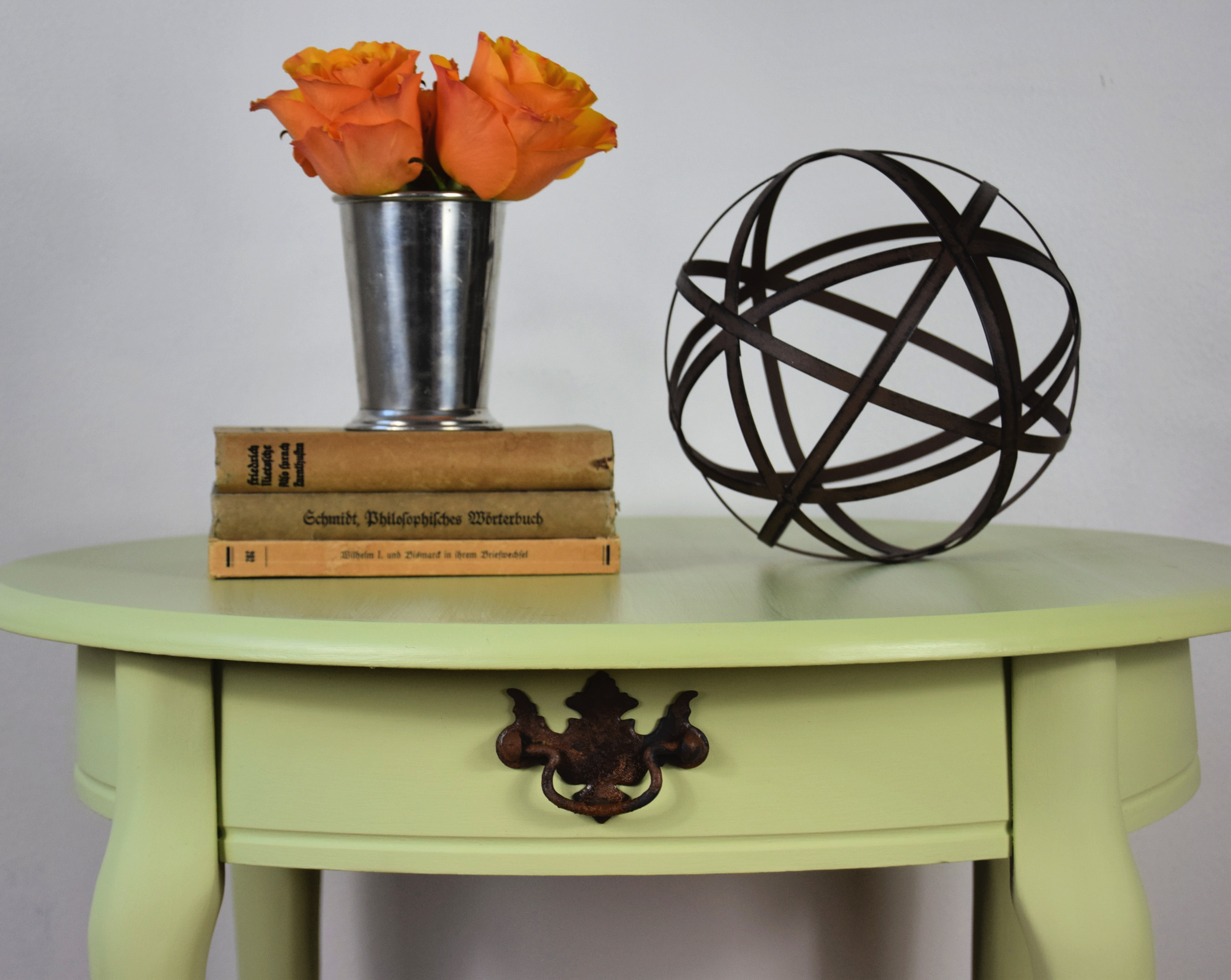 close up of Courtney's little round table painted farmhouse green