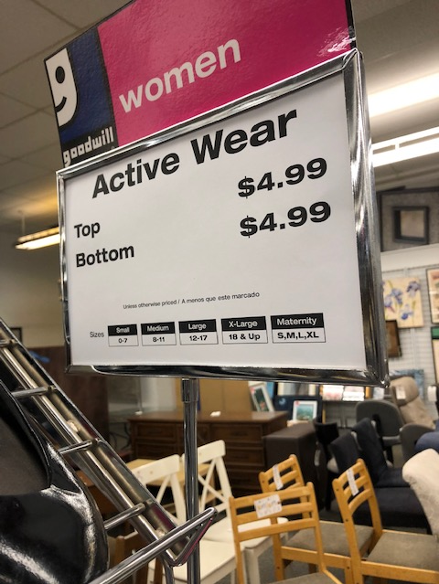 Active Wear sign at Goodwill store