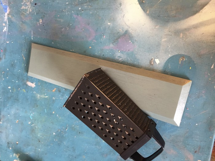 Tim's cheese grater and painted wood