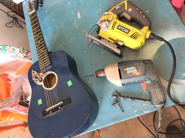Tim's guitar and tools