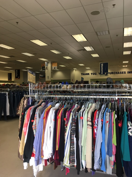 Racks of clothing at Goodwill in Milford, Delaware