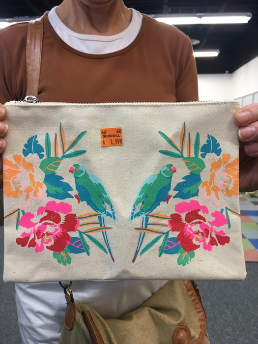 Canvas parrot clutch found at the Sully Station Goodwill