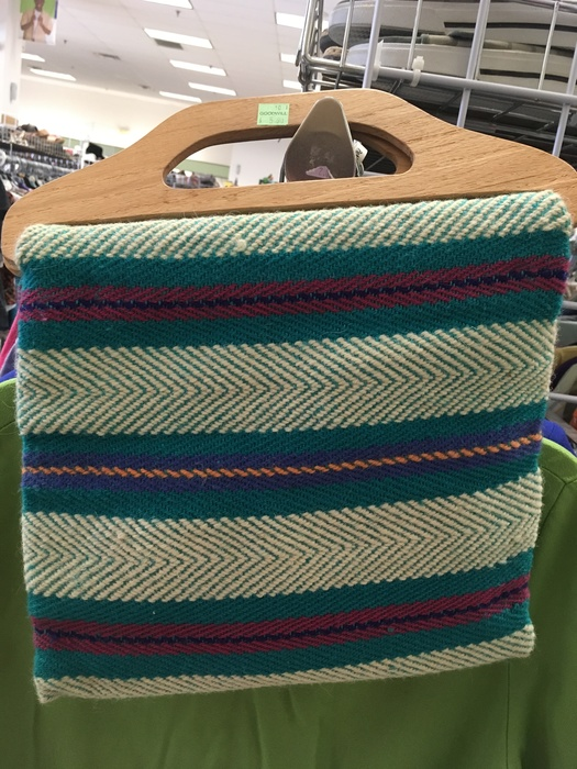 Woven textile bag found a Goodwill in Milford, DE