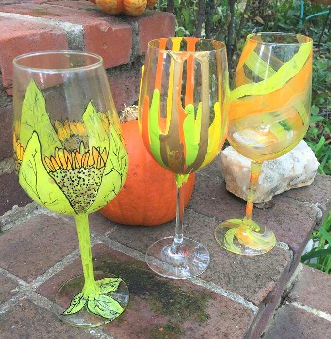 Tim's painted wine glasses