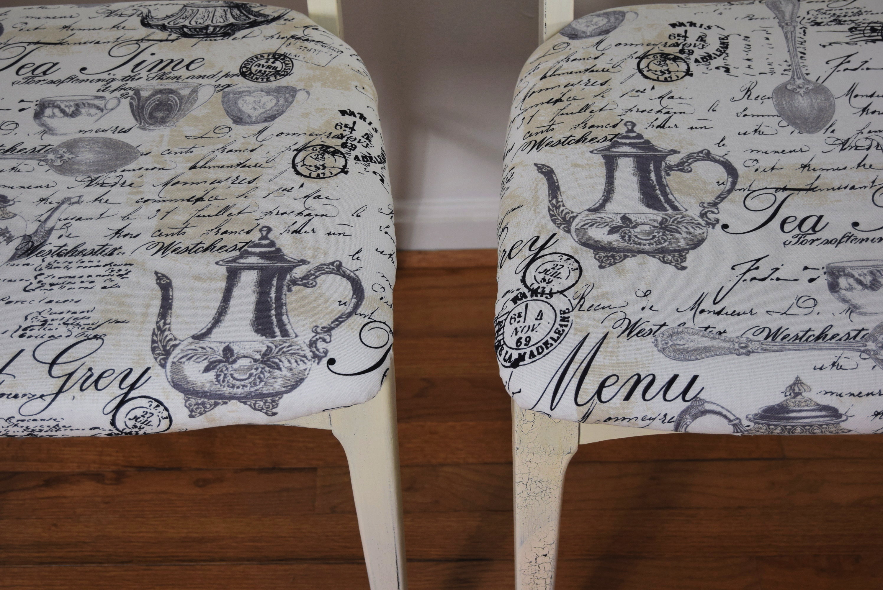 Close-up of bistro chair seats