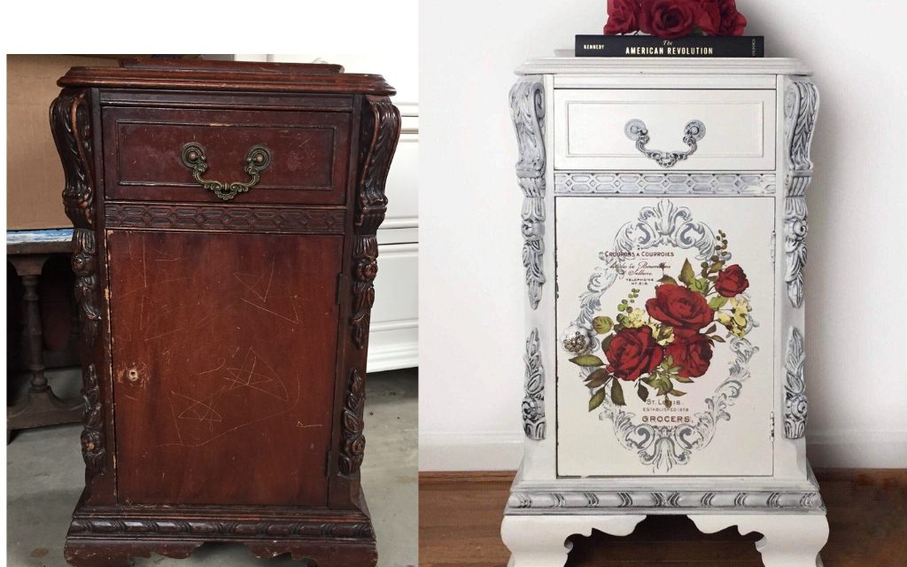 A Vintage Makeover for a Pretty Little Nightstand