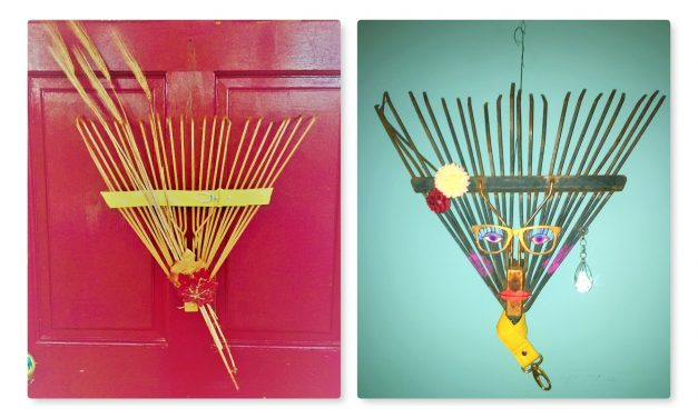 Upcycle a Rake into a Fall Wreath or Funky Wall Art