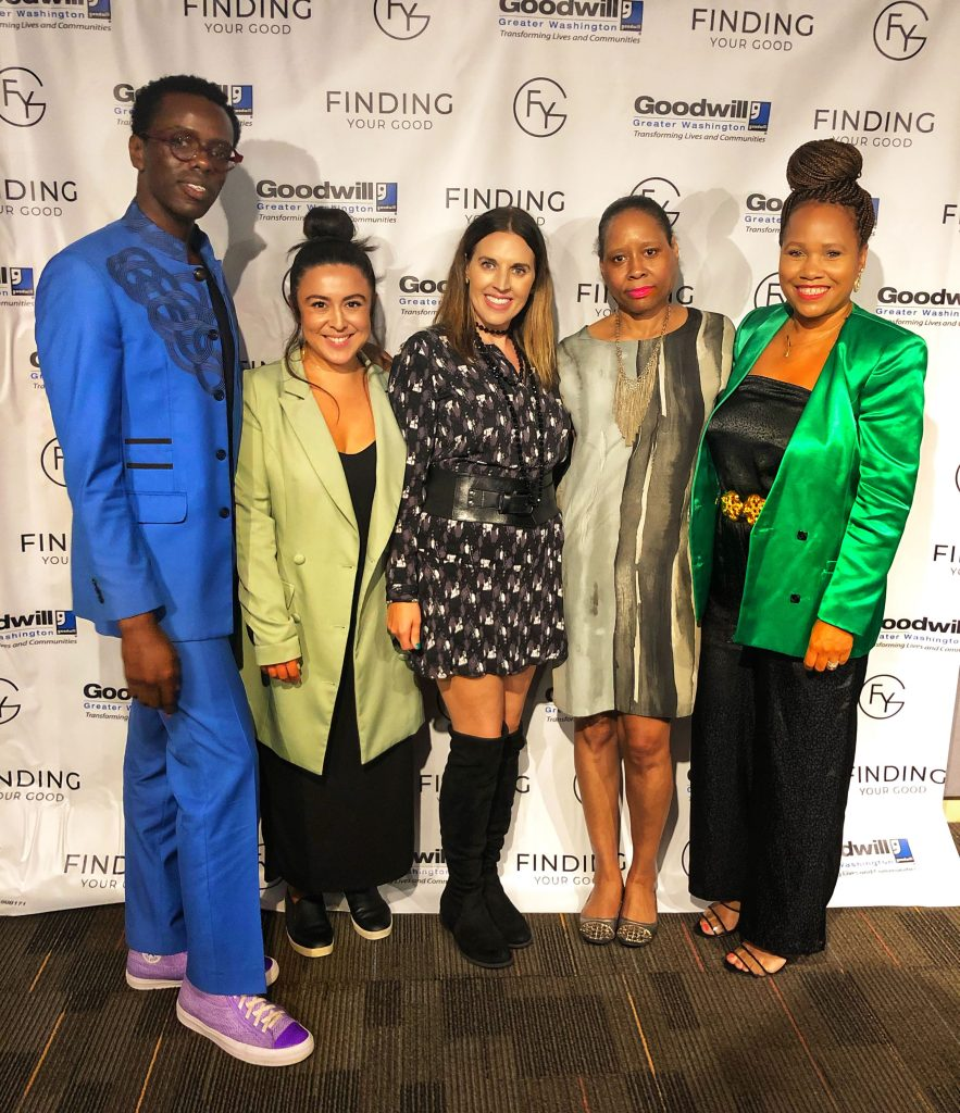 Eugene Simms (Stylist  and Wardrobe Consultant),  Jackie Rodriguez (@jaquitabanana and @ourrestore), Host Sarah Fraser, Janice Wallace (of DC Sustainable Fashion Collective and Cultivons), and Carin Johnson (Frugal But Chic)