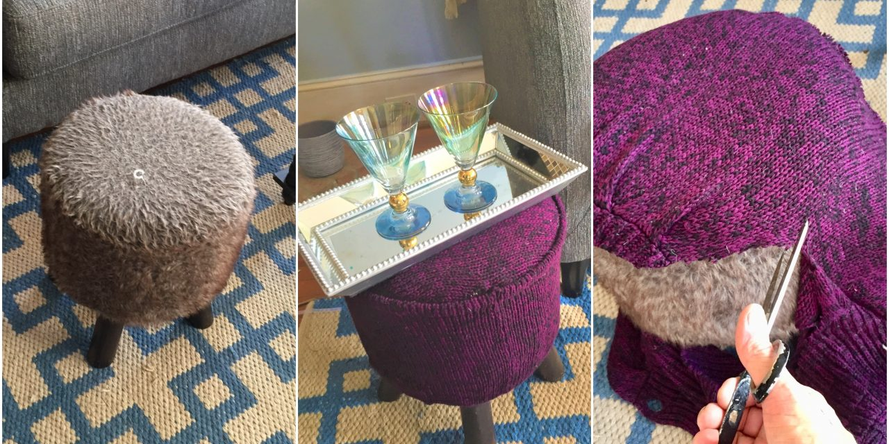 Sweater Footstool DIY Upcycle