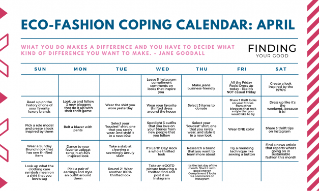 Eco-Friendly Fashion Coping Calendar for April 2020